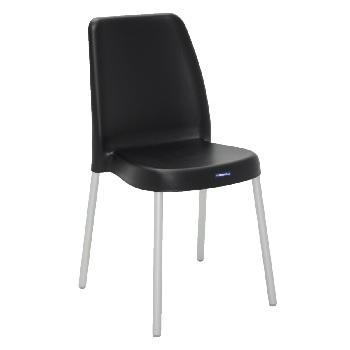 Cadeira em Polipropileno com Pernas Anodizadas Vanda Preto - Ref.92053/909 - TRAMONTINA