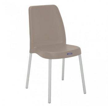 Cadeira em Polipropileno com Pernas Anodizadas Vanda Camurça - Ref.92053/921 - TRAMONTINA