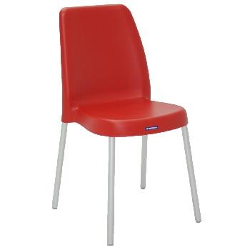 Cadeira em Polipropileno com Pernas Anodizadas Vanda Vermelho - Ref.92053/940 - TRAMONTINA