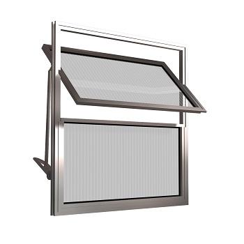 Basculante de Alumínio 2 Folhas Vidro Canelado 30X30cm FNJBC - Ref.FRN025001 - FREEDOM