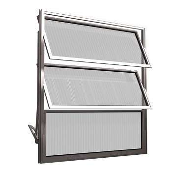 Basculante de Alumínio 3 Folhas Vidro Liso 60X60cm FNJBL - Ref.FRN026008 - FREEDOM