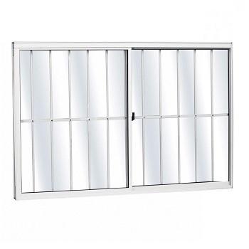 Janela de Alumínio com Grade 2 Folhas Vidro Liso 100x100cm FNJCL - Ref. FRN028021 - FREEDOM