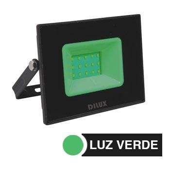 Refletor de Alumínio LED Slim 20w Bivolt IP65 Verde - Ref.DI76804 - DILUX