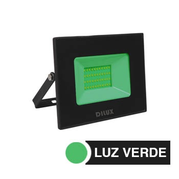 Refletor de Alumínio Led Slim 50w Bivolt IP65 Verde - Ref.DI76828 - DILUX
