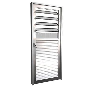 Porta de Alumínio com Basculante Vidro Canelado Lado Direito 80x210cm FNPBC - Ref. FRN032001 - FREEDOM