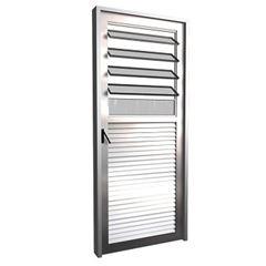 Porta de Alumínio com Basculante Vidro Canelado Lado Esquerdo 80x210cm FNPBC - Ref. FRN032002 - FREEDOM