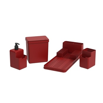 Kit Organizador para Pia com 4 Peças Single Vermelho - Ref.99311/1465 -  COZA