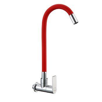 Torneira Flex de Parede para Cozinha Bica Móvel Vermelha - Ref. DMR77870 - DIMAR