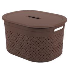 Cesta Plástica com Tampa 40x30,5x22,2cm Craft Marrom - Ref.10917/0496 - COZA