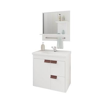 Gabinete de Banheiro MDF Suspenso 59Cm com Espelheira Tulipa Soft  Branco - REF.9940.2 - MGM
