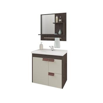 Gabinete de Banheiro mdf Suspenso 59Cm com Espelheira Tulipa Soft Café Branco - REF.9940.30 - MGM