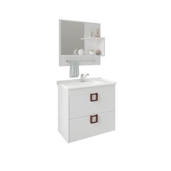 Gabinete de Banheiro mdf Suspenso 59Cm com Espelheira Lirio Soft  Branco - REF.9941.2 - MGM