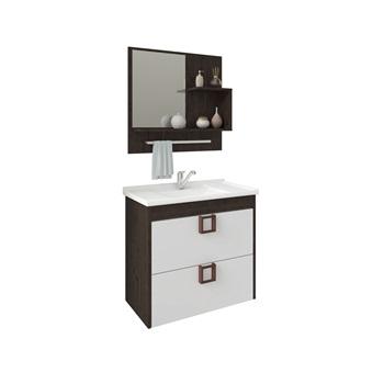 Gabinete de Banheiro mdf Suspenso 59Cm com Espelheira Lirio Soft Café off white - REF.9941.31 - MGM