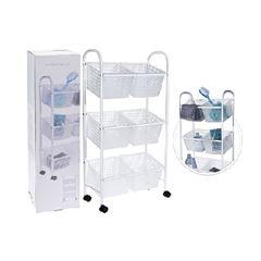 Carrinho de Plástico Multiuso 3 Andares Branco - Ref. C80621050 - EXCELLENT HOUSEWARE