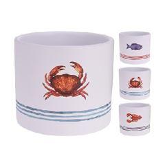 Vaso de Cerâmica 12cm Sea Life Branco - Ref. 066001080 - EXCELLENT HOUSEWARE