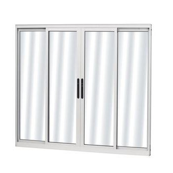 Janela de Alumínio 4 Folhas Vidro Liso Soft 100Lx100A Branco - Ref. 53612 - MGM