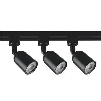 Kit Trilho 3 Spot em ABS LED 5w 3000K Preto - Ref.DI80948 - DILUX
